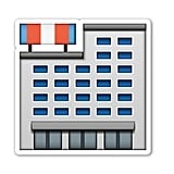 "Interpretation: ""Random building — could be an apartment complex, a hospital, or jail. Who knows?"" Name + meaning: Department Store. A large department store, selling a range of products to the general public. Also known as: Shops emoji; shopping center emoji"