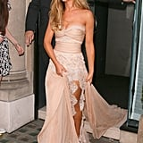 At an event to launch her new perfume, the new Mrs Fernandez-Versini made a dramatic entrance in a blush dress with lace trim by Zuhair Murad.