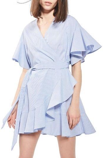 Topshop Stripe Wrap Dress