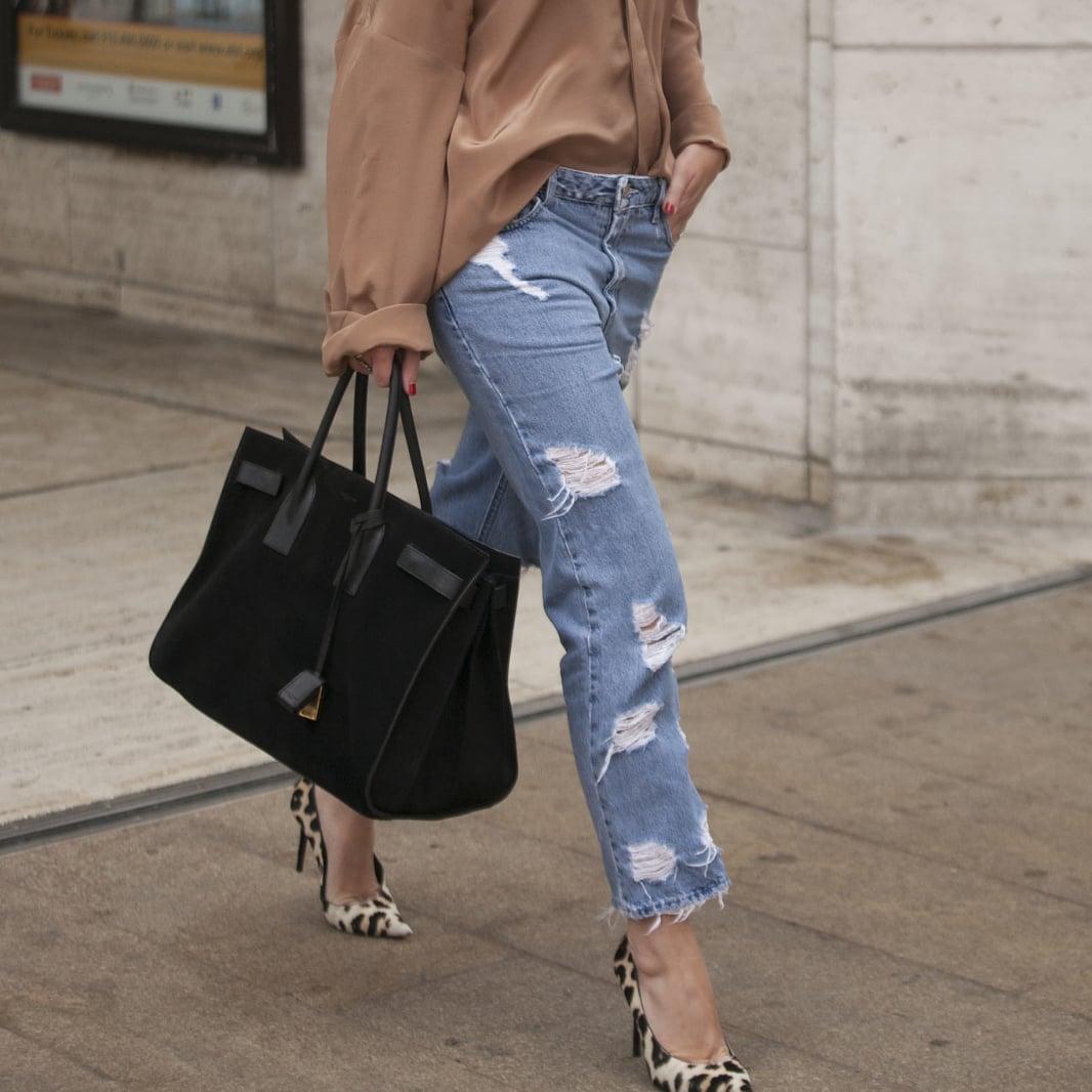 boyfriend jeans outfit ideas | popsugar fashion