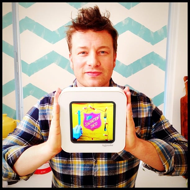 Jamie Oliver showed off the Instacube, a digital Instagram frame. Source: Twitter user jamieoliver