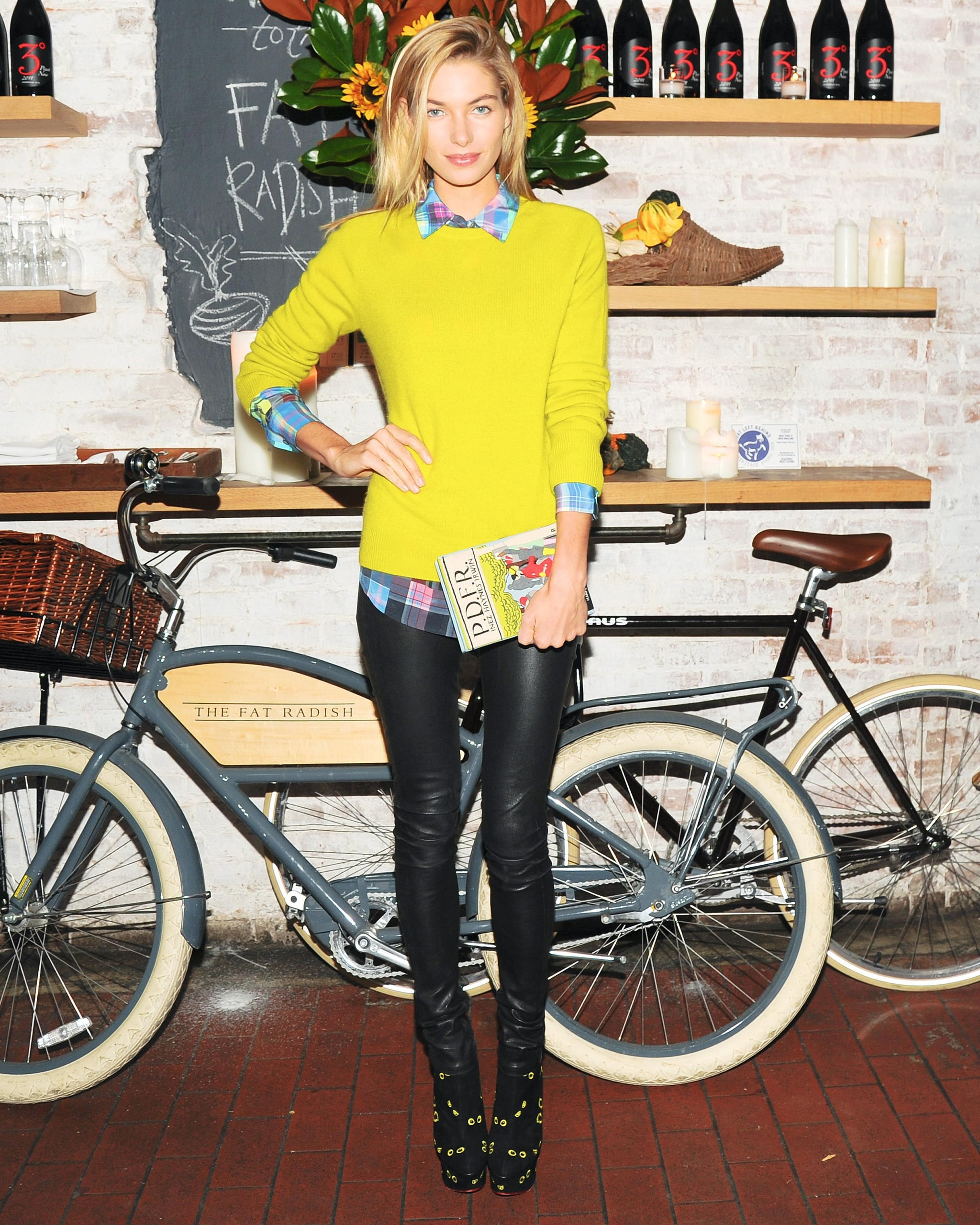 Jessica Hart brightened up The Fat Radish at the TOMS + Tabitha Simmons launch event.