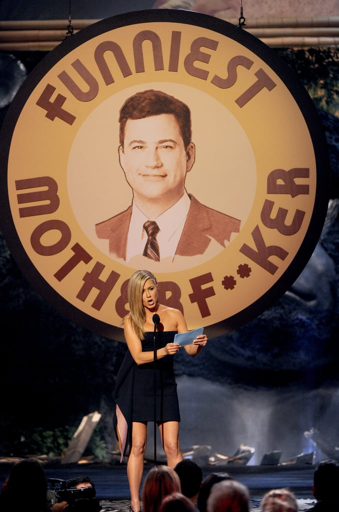 Jennifer Aniston introduced Jimmy Kimmel for an award.
