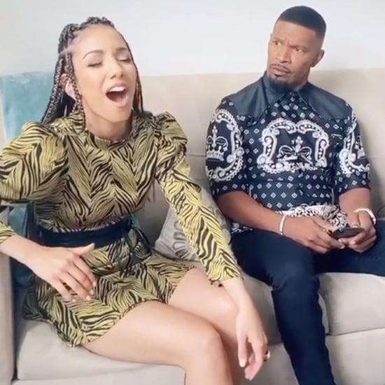 Jamie Foxx Reacts to Daughter Corinne Foxx Singing   Video