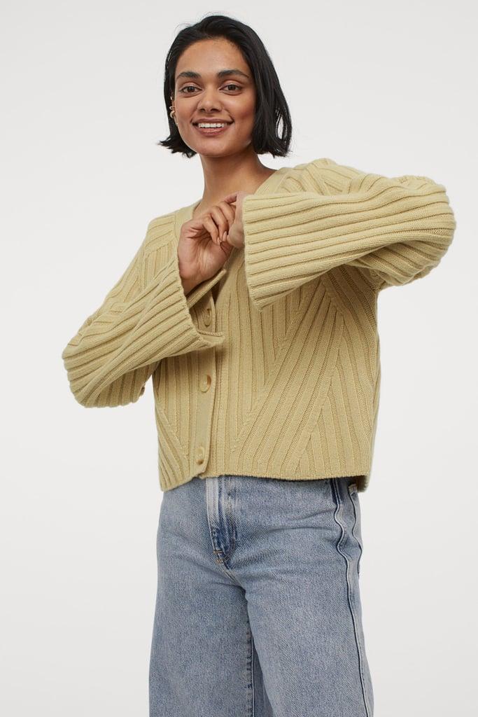 Rib-Knit Wool Cardigan