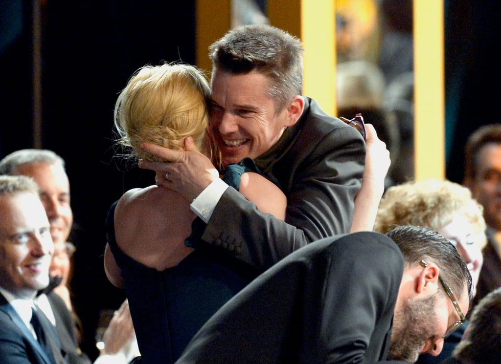 Ethan Hawke congratulated Patricia Arquette on her win for Boyhood.