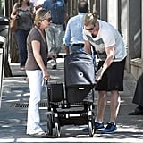 Chris Hemsworth put baby India into her stroller in Madrid.