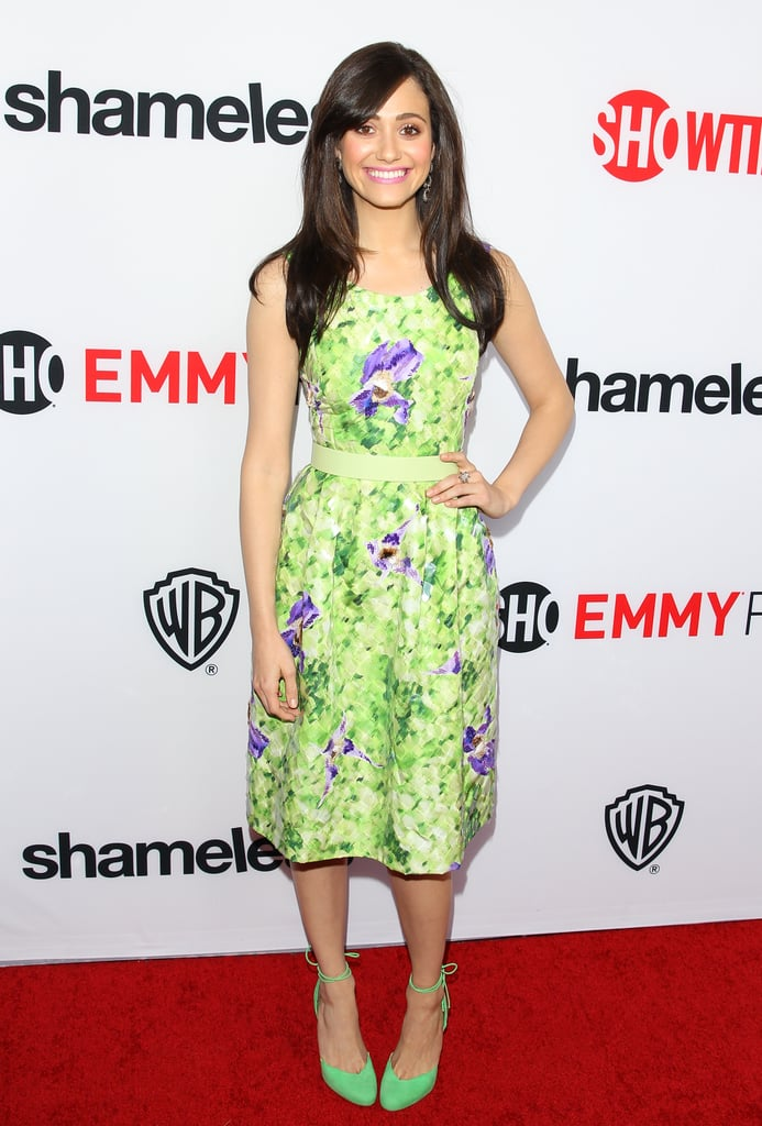 Emmy Rossum brightened up her Summer style with a green-and-purple floral dress and equally bold green ankle-strap pumps by Bionda Castana.