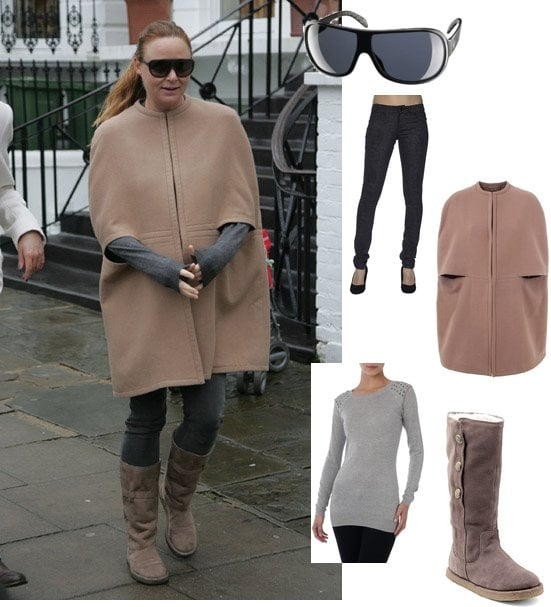 Stella McCartney in Camel Cape and Skinny Jeans