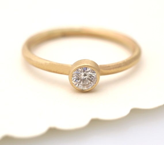 Love the simplicity of this recycled gold and conflict-free diamond Etsy ring ($795)