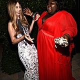 American Horror Story: Coven costars Taissa Farmiga and Gabourey Sidibe greeted each other at the Fox/FX afterparty.
