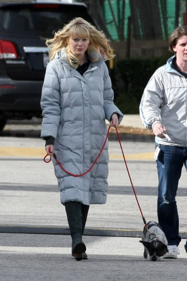 Pictures of Emma Stone Walking Her Dog on the Set of the Spider-Man Reboot in LA