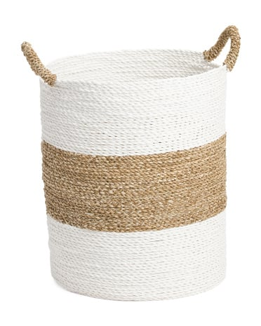 Round Seagrass Striped Basket ($25)