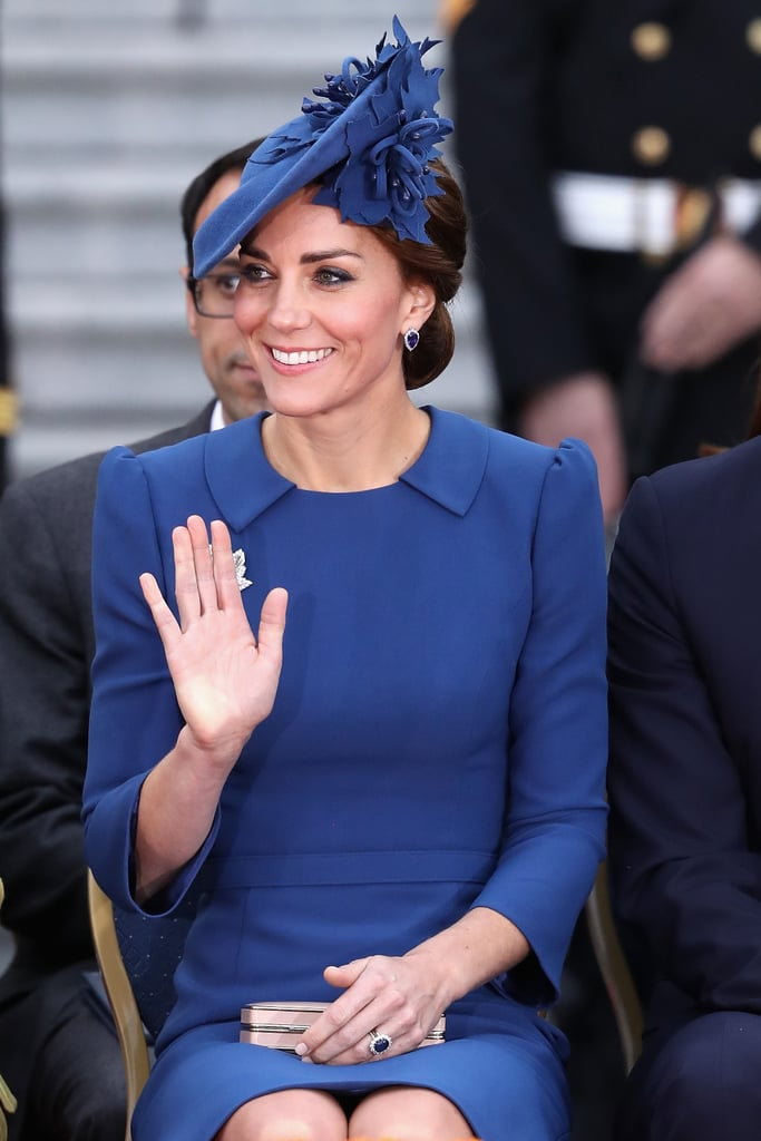 The duchess wore the look right to the official welcome ceremony, along with an L.K. Bennett clutch.