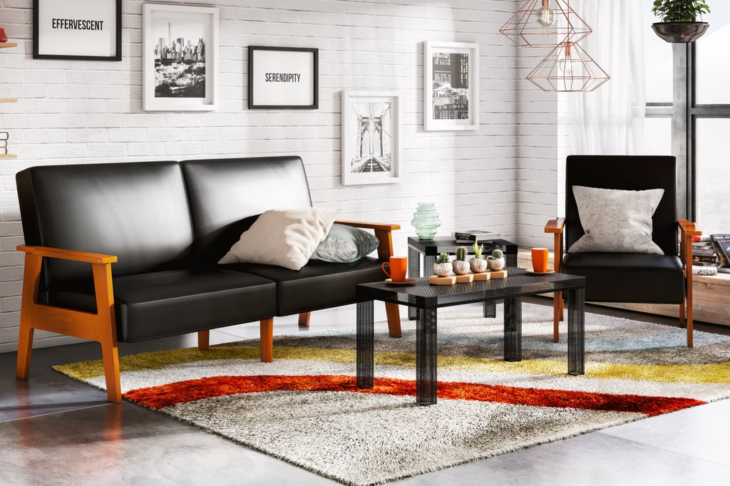 "Asher Sofa Futon With Multi-Position Back ($362) Asher Chair With Multi-Position Back ($211) Retro Collection Classic Shag Area Rug (2'0"" x 3'0"") in Multicolor ($59) Mahek 1-Light Cage Pendant, Copper Finish ($51)"