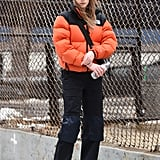 Winter Outfit Idea: A Bright Puffer and Black Pants
