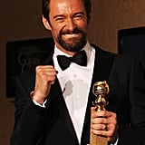 Hugh Jackman celebrated his big Golden Globes win.