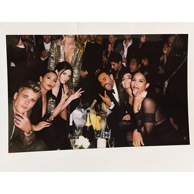 Justin Bieber, the Kardashians and Carine Roitfeld out with friends in Paris. Source: Instagram user kimkardashian