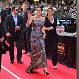 Angelina Jolie arrived looking gorgeous in Gucci at the Australian (and world!) premiere of Unbroken at the State Theatre on Monday night.