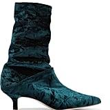 Tibi Harper Crushed-Velvet Boots