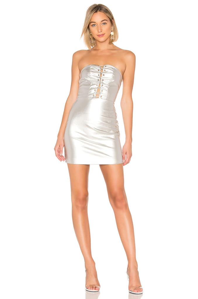 By the way. Minka Lace Up Tube Dress in Silver Metallic