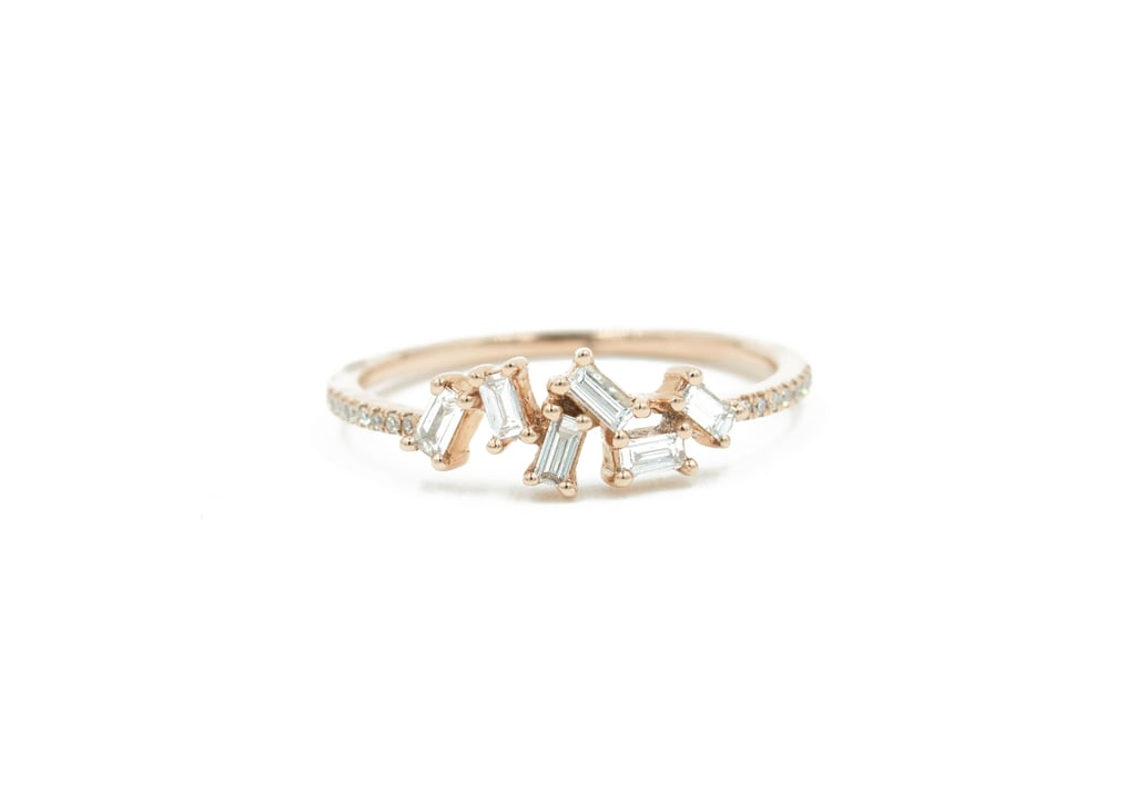 Rose Gold Diamond Pave and Diamond Baguette Ring