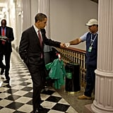 When he fist-bumped a custodian at a US government building after a forum on the economy