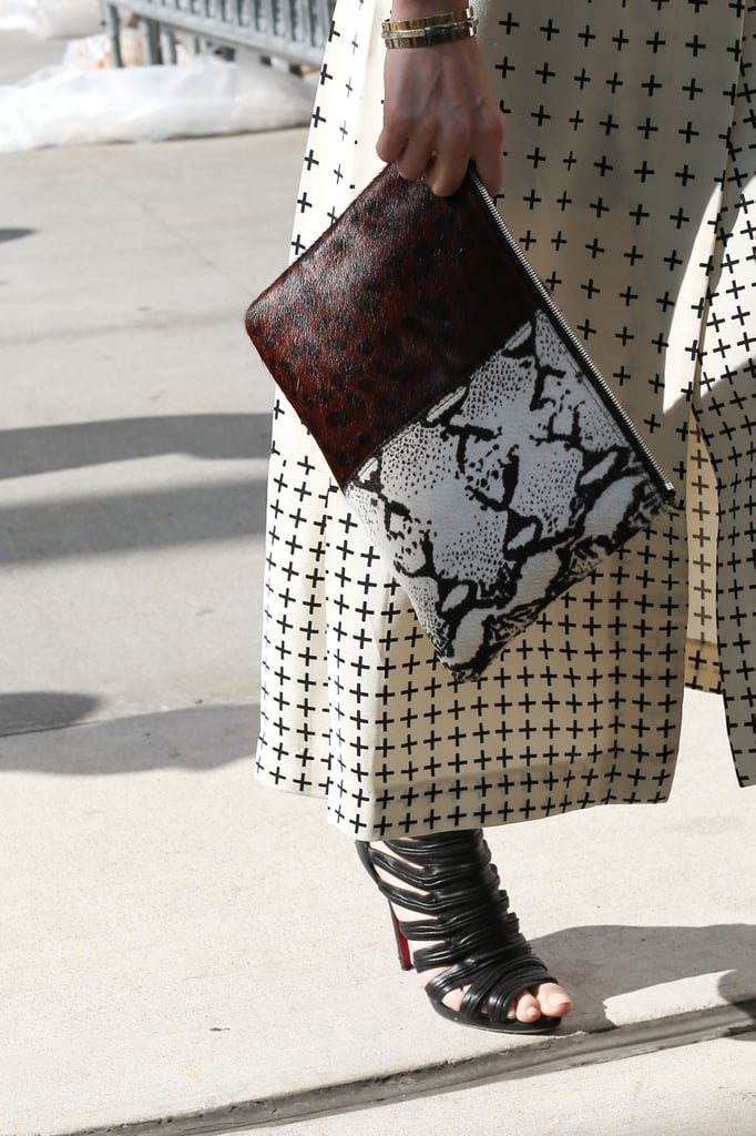 Snakeskin and leather livened up a more subdued print.