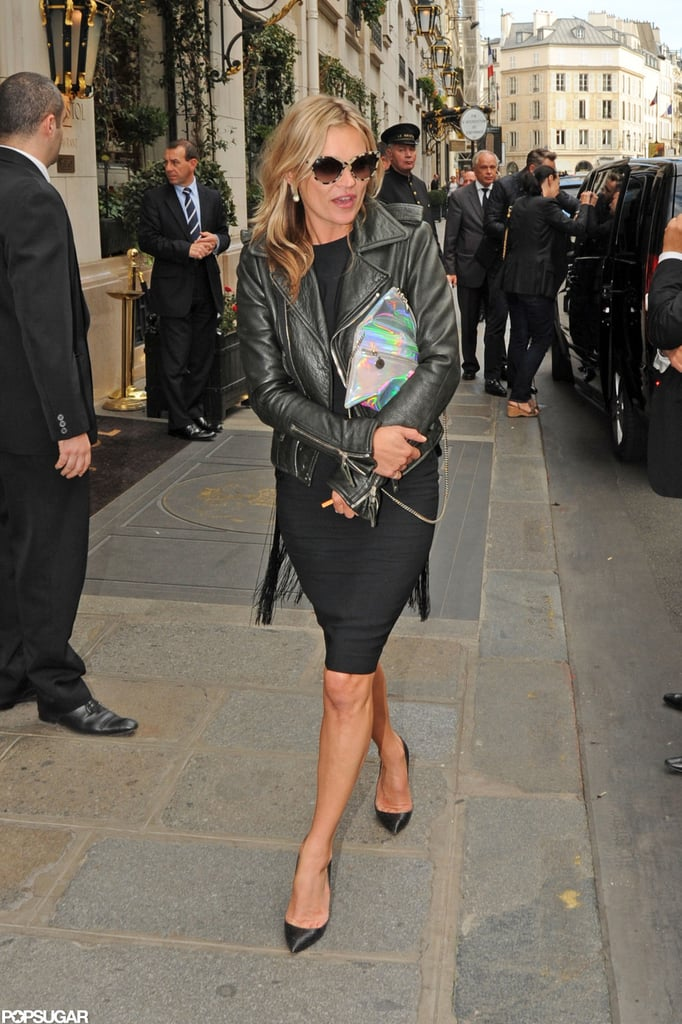 Kate Moss wore a black dress and leather jacket. | Kate Moss and ...