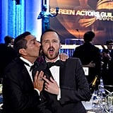 Aaron Paul goofed around with Steven Michael Quezada.