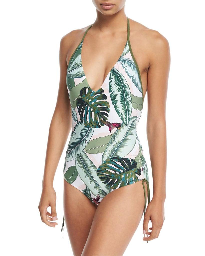 Seafolly Palm Beach Deep-V Maillot Halter One-Piece Swimsuit