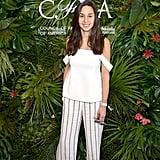 POPSUGAR Style director Dana Avidan Cohn wore breezy pants and a cold-shoulder top to the POPSUGAR x CFDA brunch.
