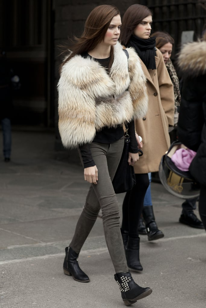 A furry jacket livened up skinnies and booties.