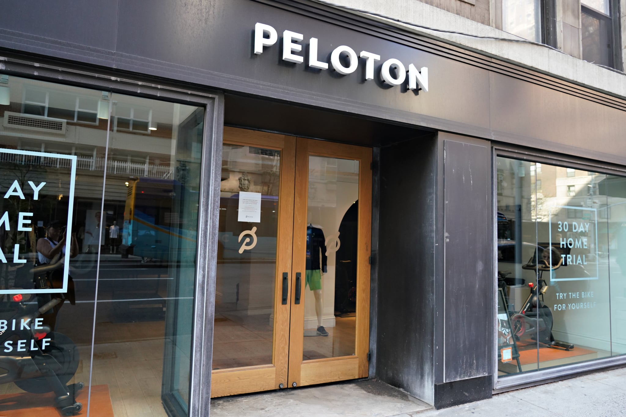 NEW YORK, NEW YORK - MARCH 20: A closed PELOTON store as the coronavirus continues to spread across the United States on March 20, 2020 in New York City. The World Health Organization declared coronavirus (COVID-19) a global pandemic on March 11th.  (Photo by Cindy Ord/Getty Images)