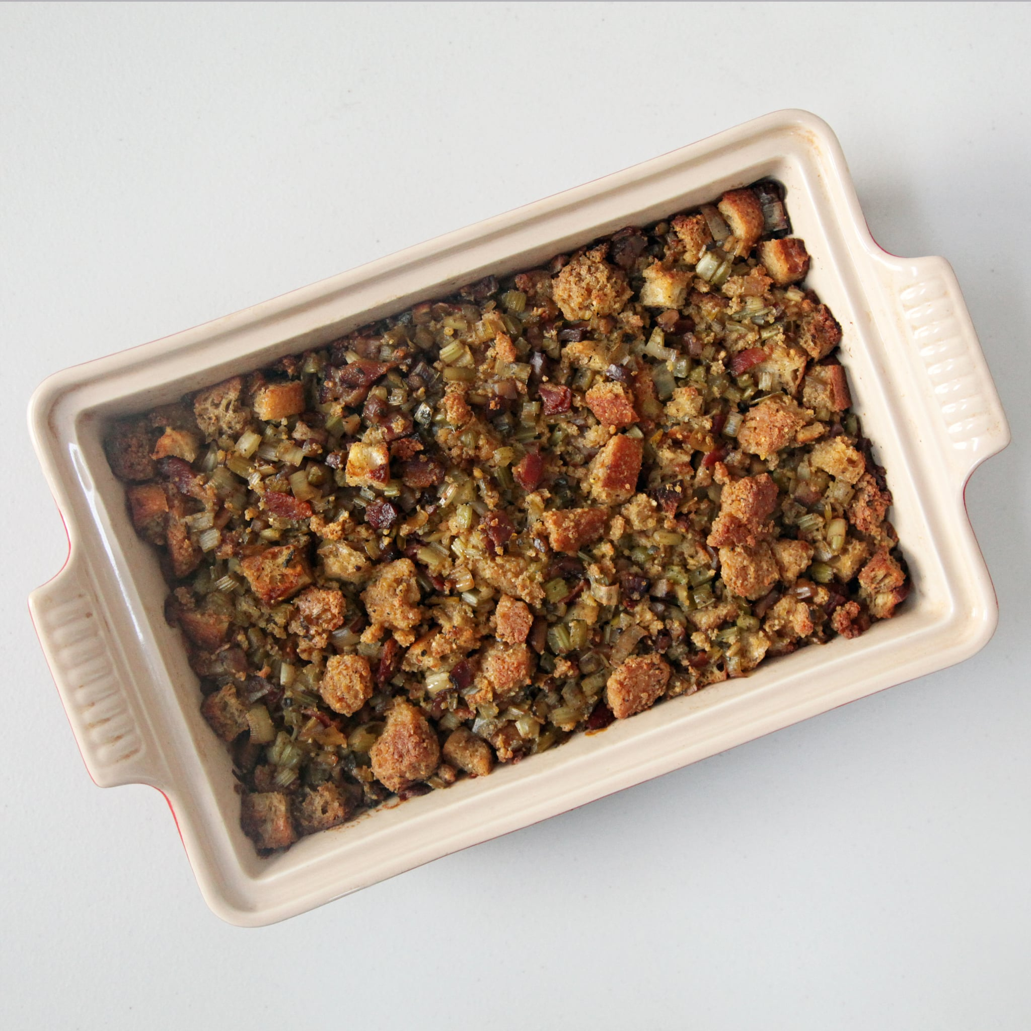 Roasted Chestnut Cornbread Stuffing with Bacon