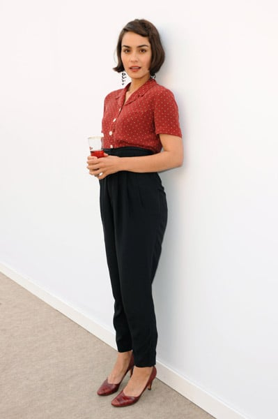 Shannyn Sossamon stayed true to her quirky cute style in her polka-dot blouse and high-waisted trousers.