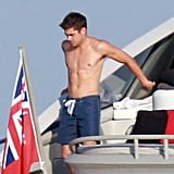 Zac Efron got shirtless on a boat while celebrating the Fourth of July in Saint-Tropez.
