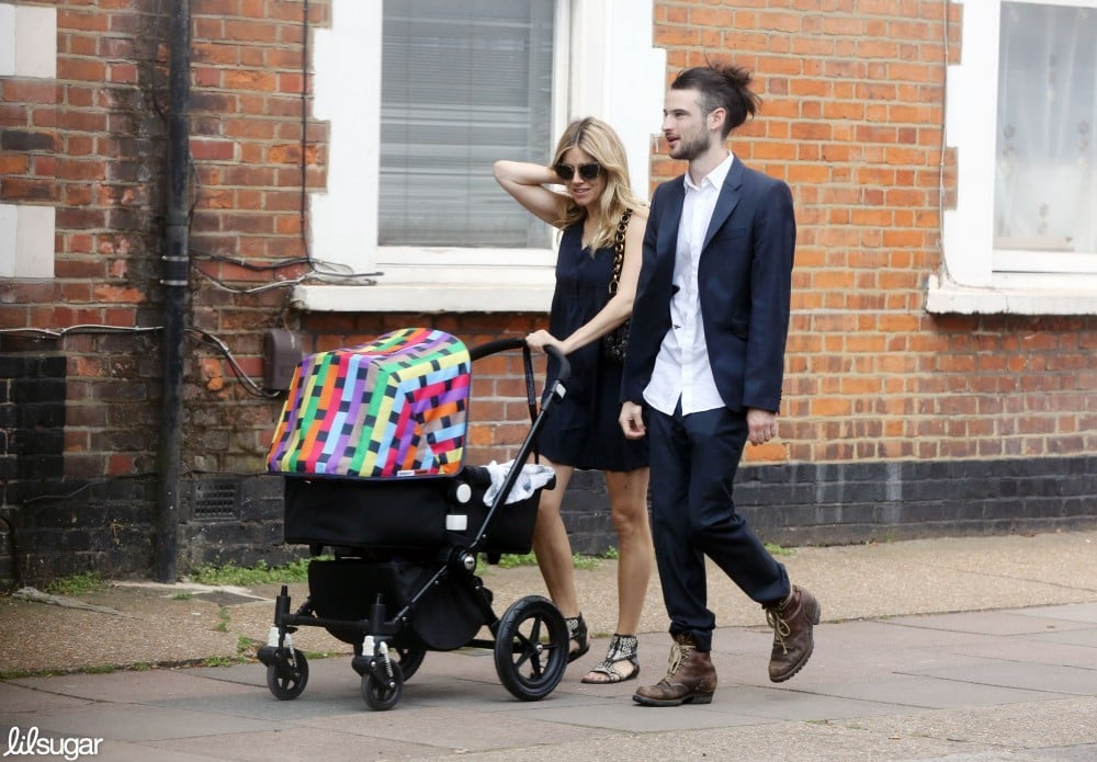 Sienna Miller and Tom Sturridge walked in London with daughter Marlowe in her chic Missoni Bugaboo stroller.