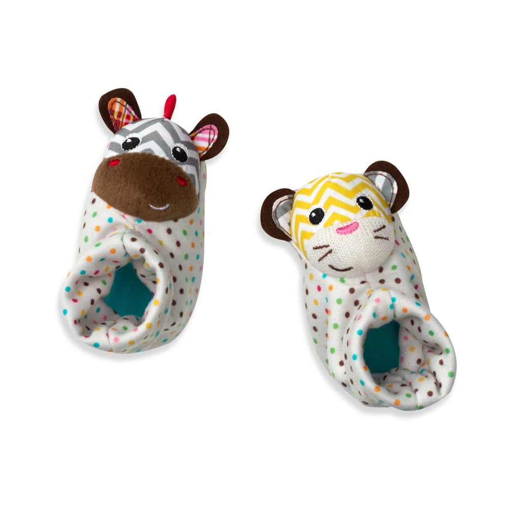 For Infants: Infantino Foot Rattles in Tiger/Zebra