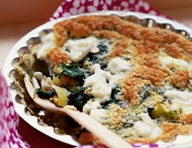 Crustless Leek, Greens, and Herb Quiche Recipe
