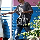 Halle Berry carried her purse out of a restaurant in LA.