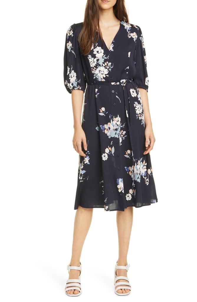Nordstrom Signature Button-Front Stretch Silk Dress