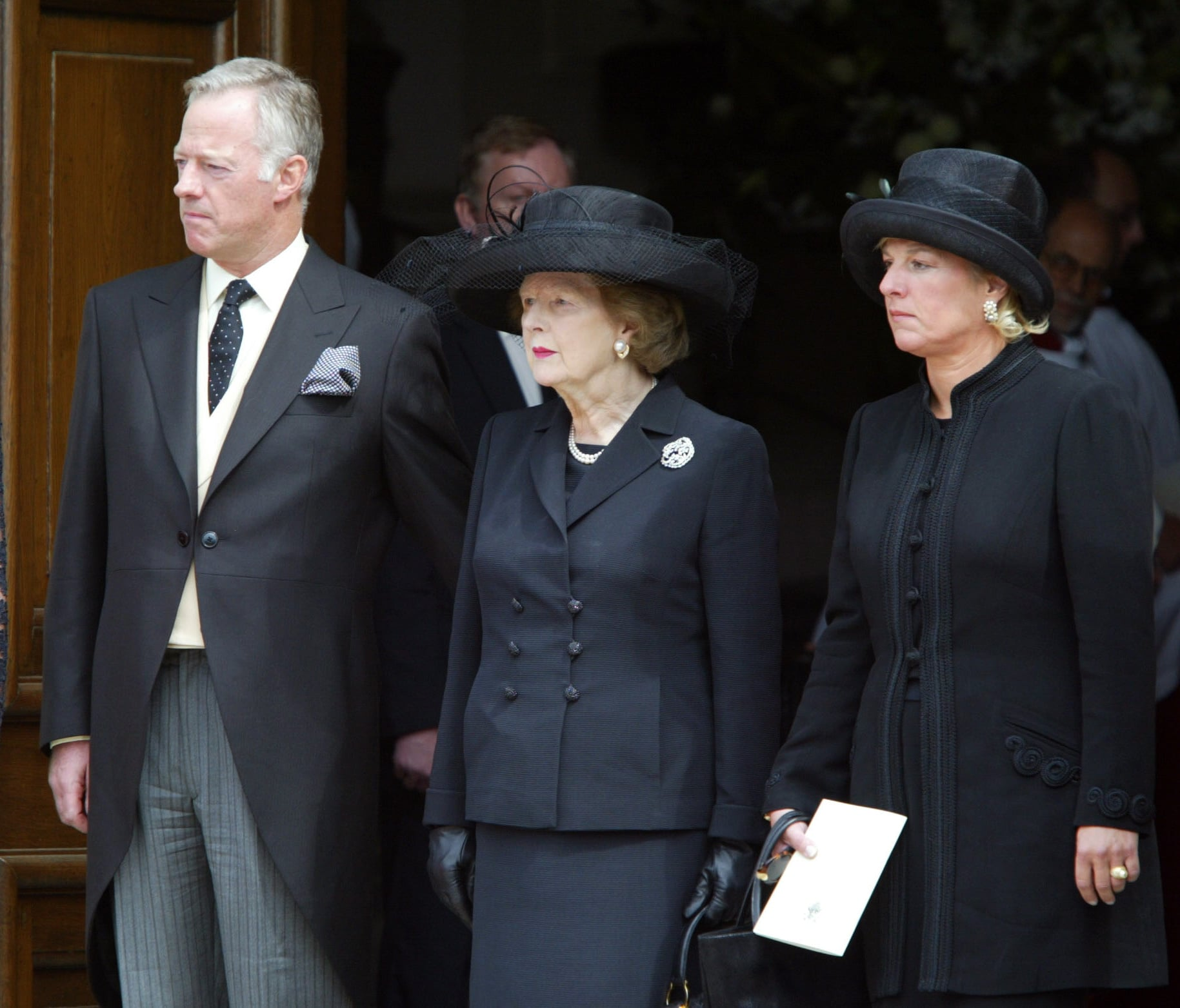 Margaret, Mark & Carol Thatcher Attend The Funeral Of Denis Thatcher At The Royal Hospital In Chelsea. (Photo by Justin Goff\UK Press via Getty Images)