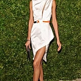 Chanel Iman wore an asymmetric white dress.