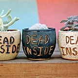 Dead Inside Halloween Ceramic Planter