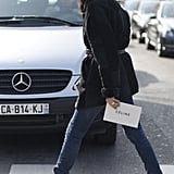 We'd know that look anywhere — Emmanuelle Alt showed off her signature Parisian-chic take on denim between shows.