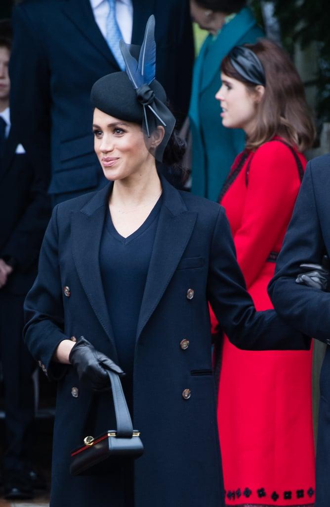 Meghan Markle Carrying a Victoria Beckham Powder Box Bag in Black