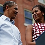 The Obamas gave each other a sweet look in Iowa.
