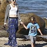 Gwen Stefani was hand in hand with son Kingston on the beach on Memorial Day in LA.