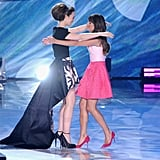 Lily Collins hugged Lea Michele when she came on stage at the Teen Choice Awards.